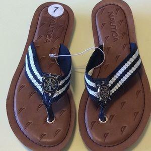 NEW ladies Sz 7 Nautical blue white sandals